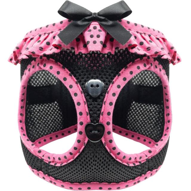 Doggie Design(ドギーデザイン)American River Harness Hot Pink Black アメリカン リバー ハーネス ピンク ブラック ポルカドット