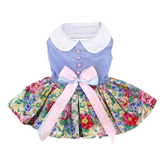 Doggie Design(ドギーデザイン)Blue and White Pastel Pearls Floral Dress ブルー ホワイト パールズ フローラル ドレス