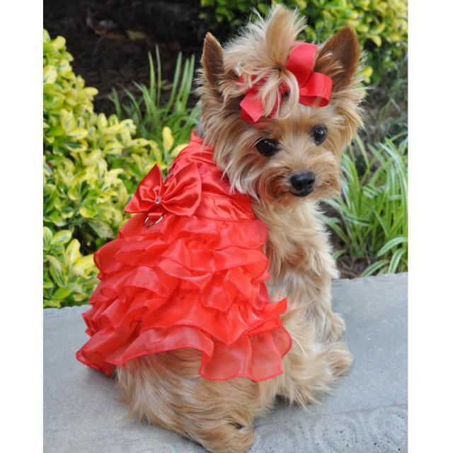 Doggie Design(ドギーデザイン)ドッグウェア ホリデー ドッグ ハーネス ドレス レッド サテン