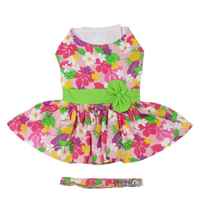 Doggie Design(ドギーデザイン)Pink Hawaiian Floral Dog Harness Dress ピンク ハワイアン フローラル ドレス