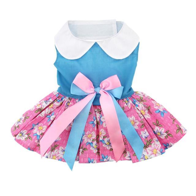 Doggie Design(ドギーデザイン)Pink and Blue Plumeria Floral Dog Dress ピンク ブルー プルメリア フローラル ドレス