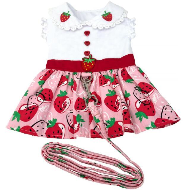 Doggie Design(ドギーデザイン)ドッグウェア Strawberry Picnic Dog Dress ストロベリー ピクニック ハーネス ドレス