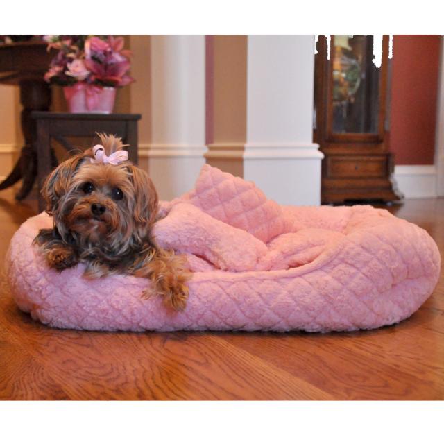 Doggie Design(ドギーデザイン)犬用ベッド ウルトラ ソフト プラッシュ ピンク ダイヤモンド キルト ペット ベッド