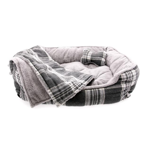 Doggie Design(ドギーデザイン)犬用ベッド ウルトラ ソフト プラッシュ グレー プラッド ペット ベッド
