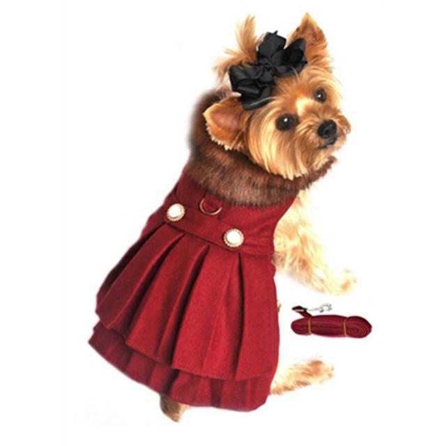 Doggie Design(ドギーデザイン)Wool Fur Trimmed Dog Harness Coat Burgundy